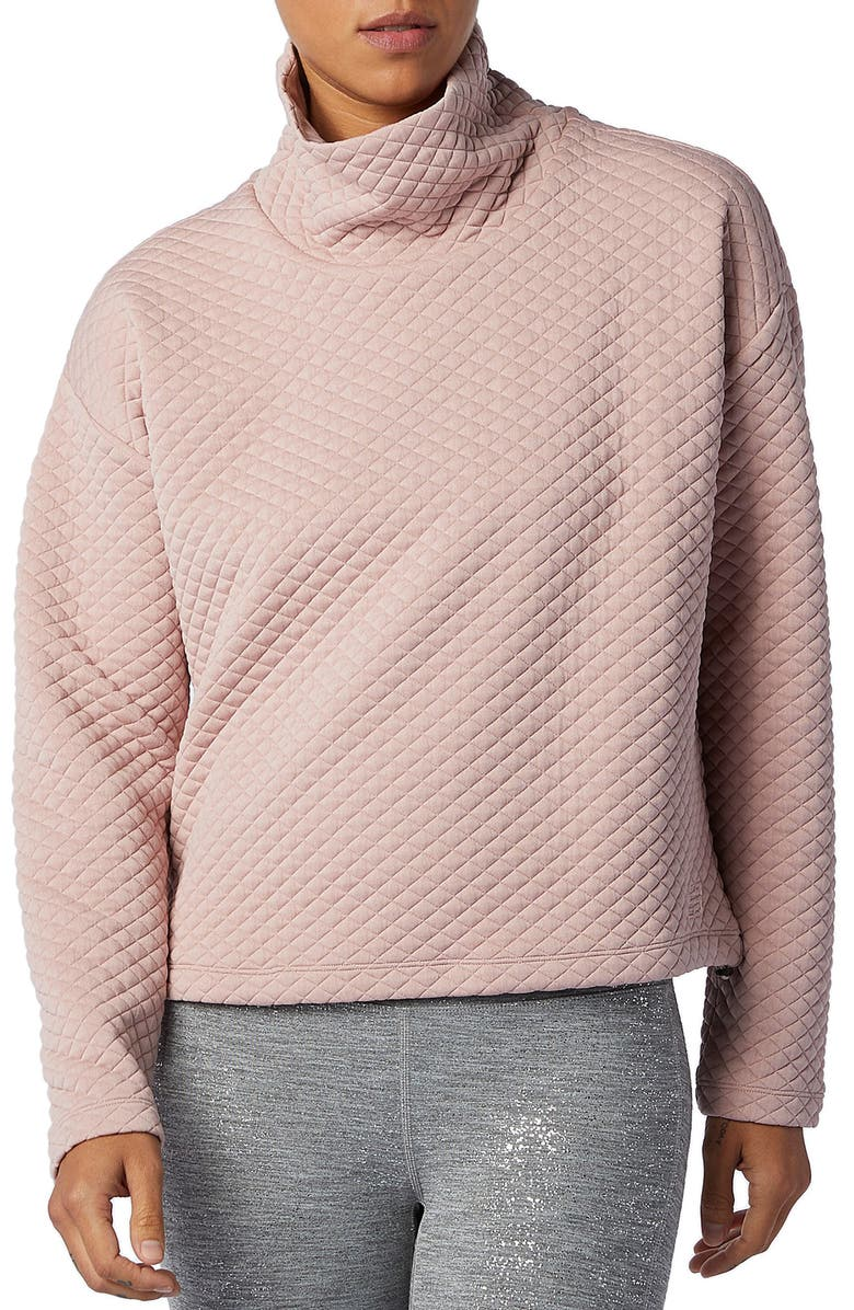 NEW BALANCE NB Heat Loft Funnel Neck Quilted Top, Main, color, SATURN PINK