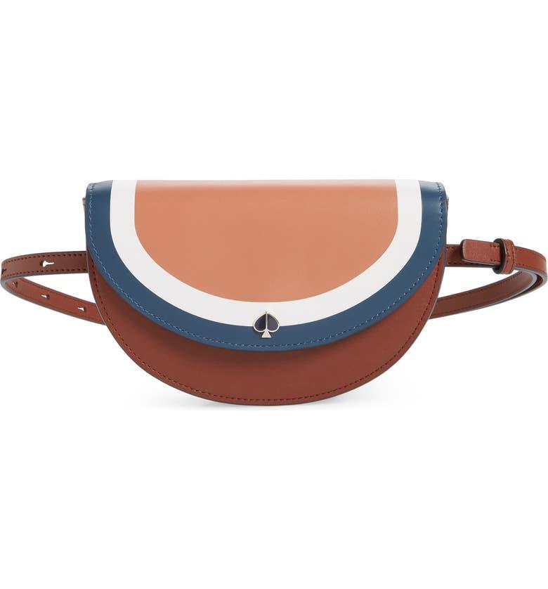 KATE SPADE NEW YORK andi stripe small half-moon belt bag, Main, color, TAWNY MULTI