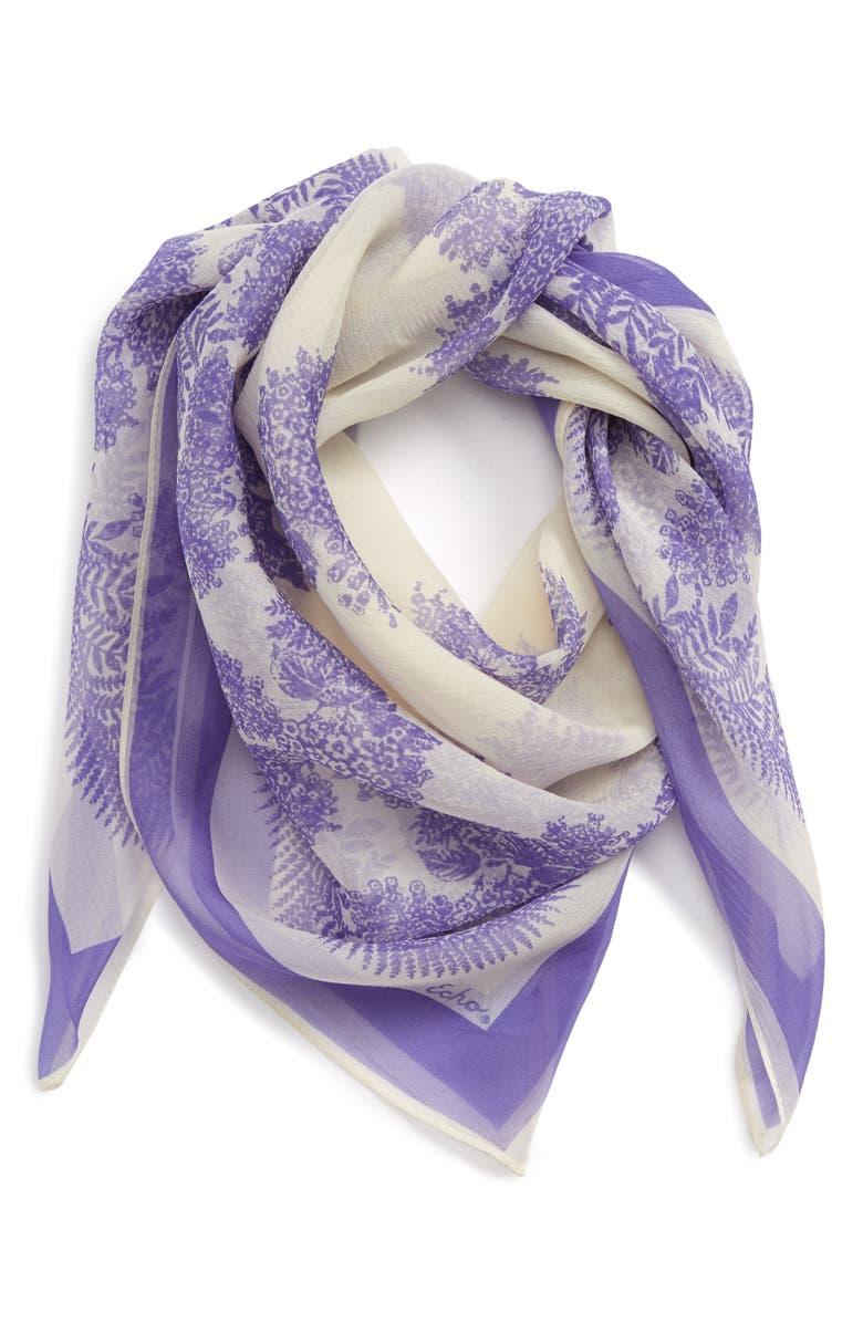 ECHO Floral Square Silk Scarf, Main, color, IRIS