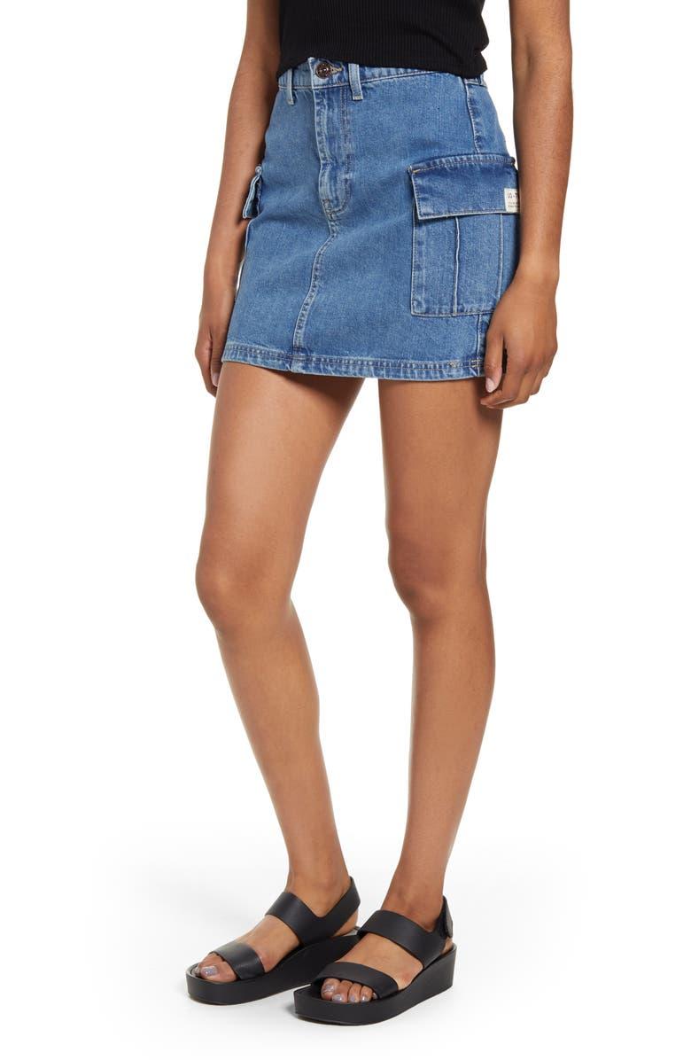 BDG Urban Outfitters Denim Cargo Miniskirt, Main, color, DENIM BLUE