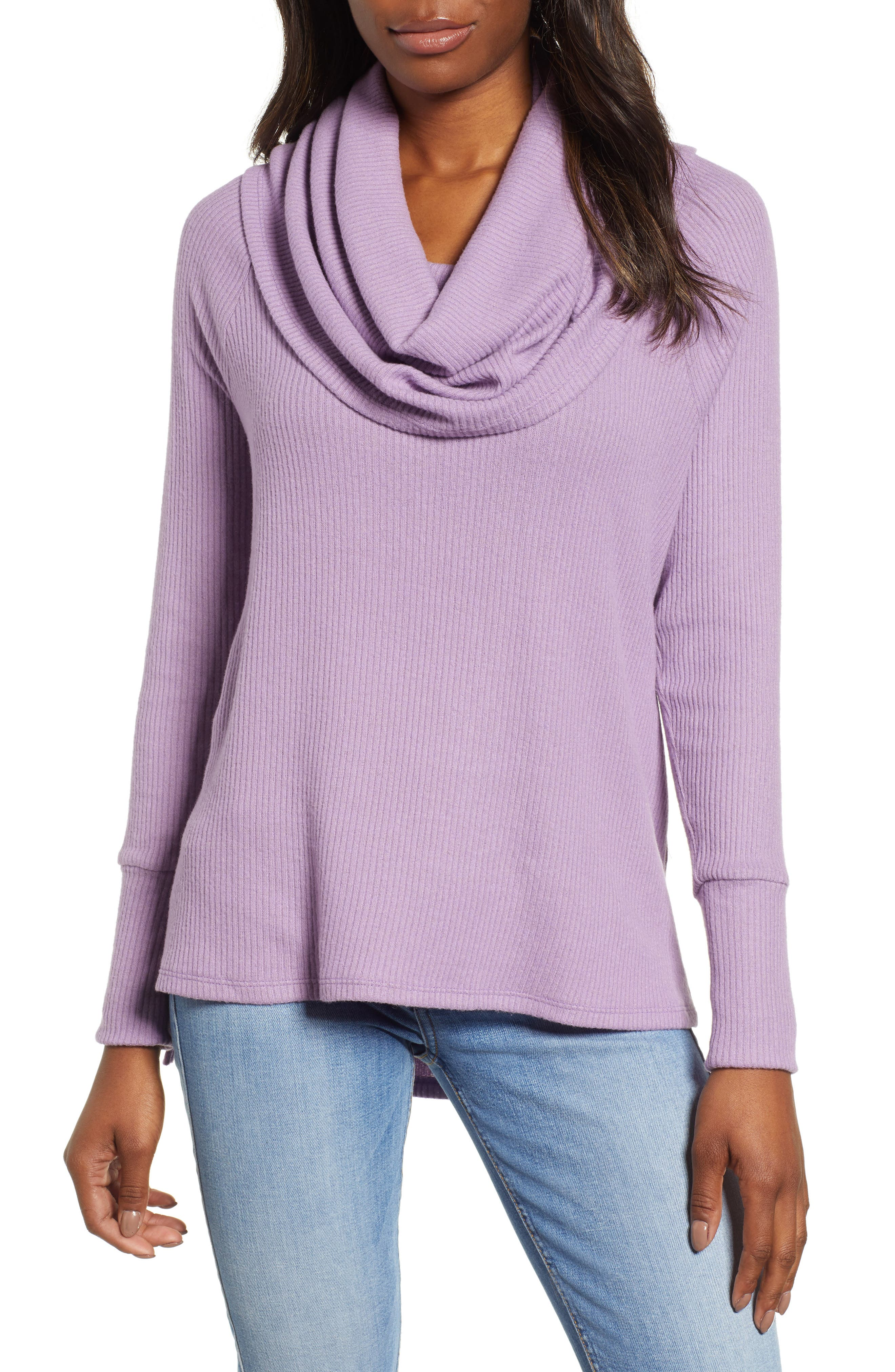 Petite Gibson X Living In Yellow Ribbed Cowl Neck Sweater, Purple