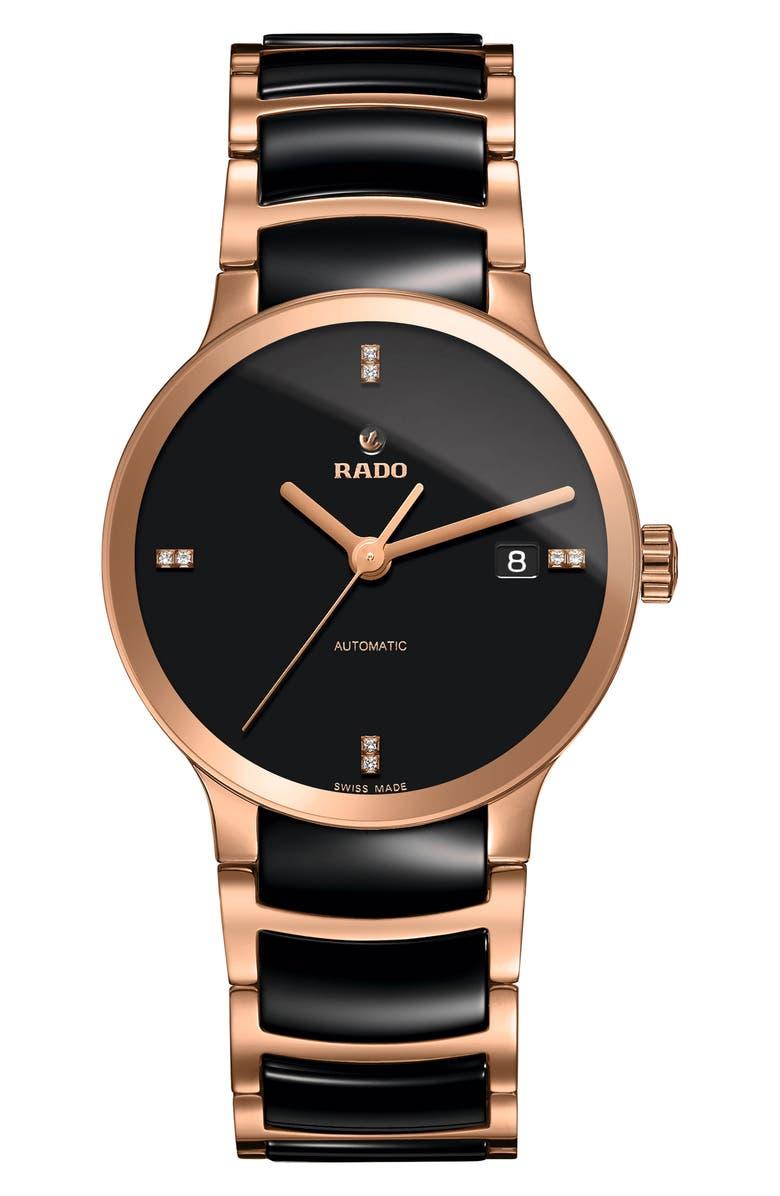 RADO Centrix Automatic Diamond Ceramic Bracelet Watch, 38mm, Main, color, BLACK/ ROSE GOLD