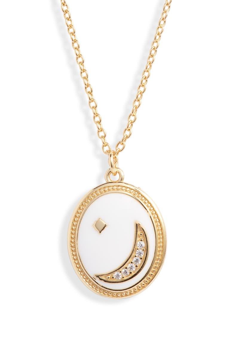 ARGENTO VIVO Moon & Star Enamel Pendant Necklace, Main, color, GOLD/ WHITE