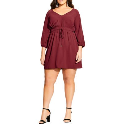 Plus Size City Chic Long Sleeve Tie Waist Tunic Dress, Burgundy
