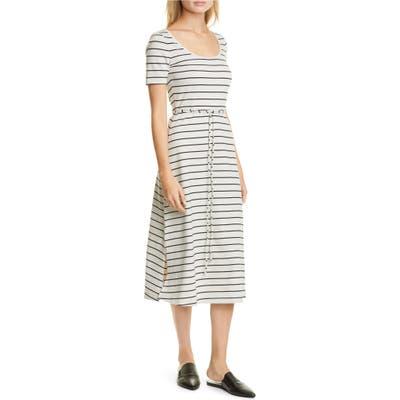 Club Monaco Stripe Scoop Neck Midi Dress, White