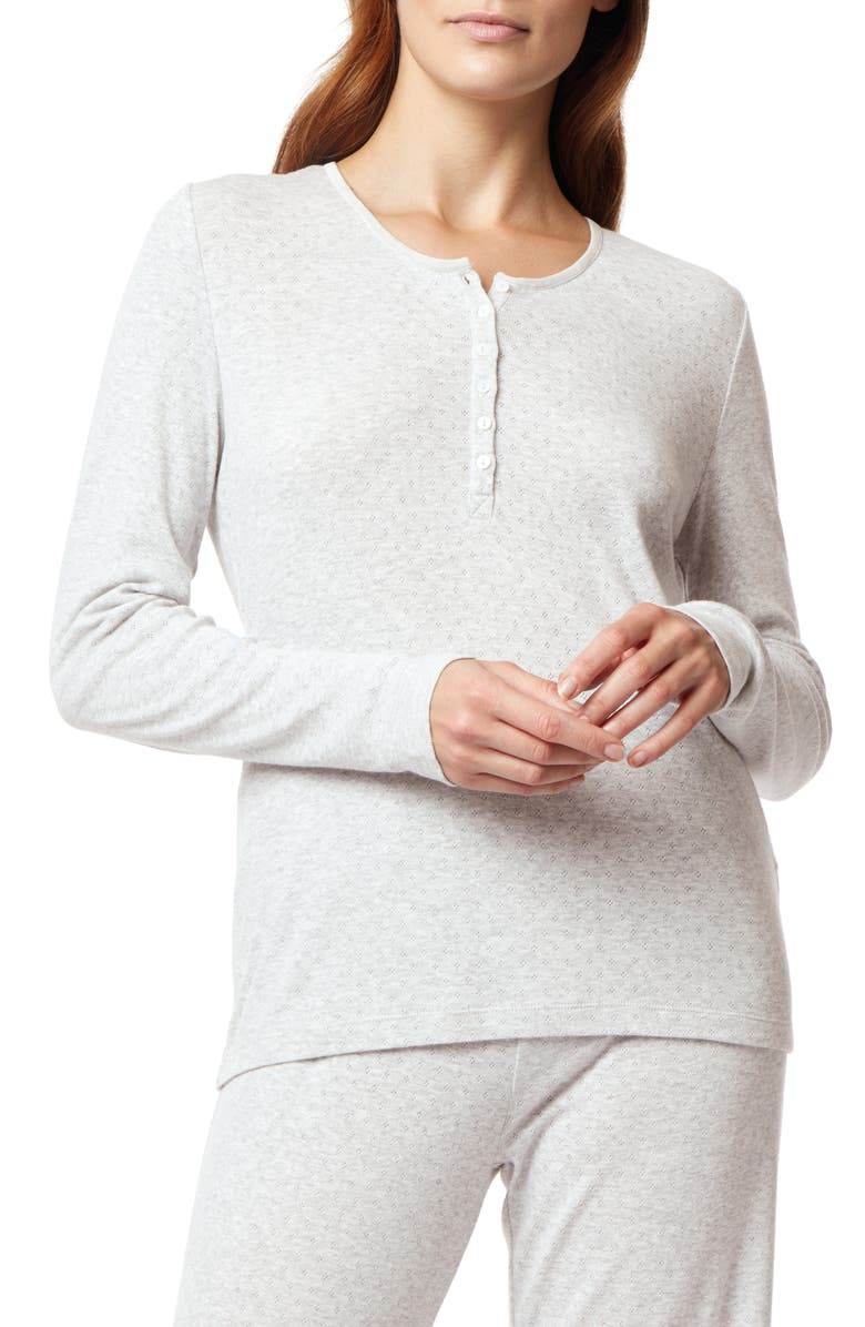 THE WHITE COMPANY Pointelle Pajama Top, Main, color, CLOUD MARL
