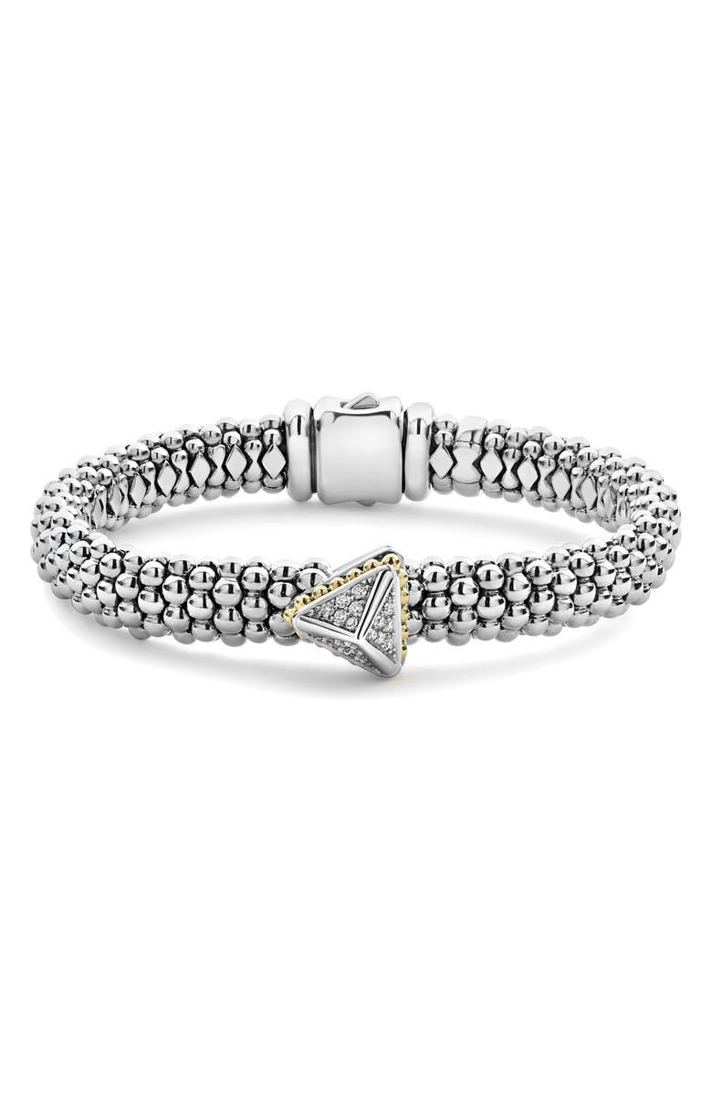 LAGOS Diamond Pyramid Bracelet, Main, color, SILVER/ DIAMOND