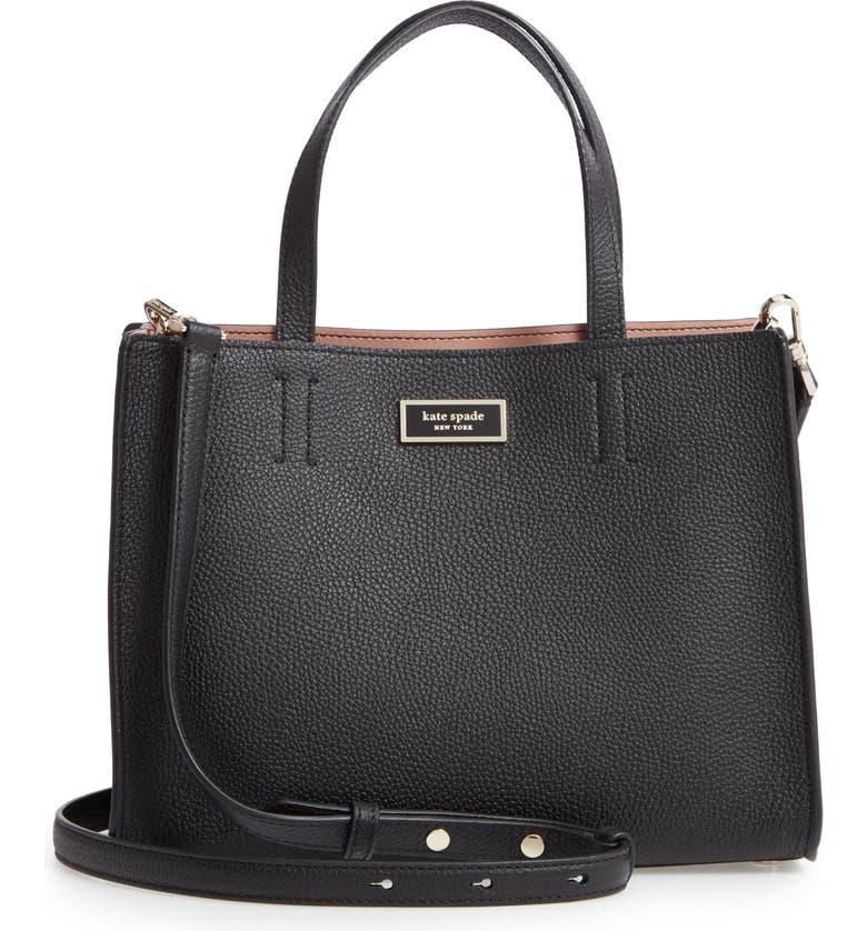 KATE SPADE NEW YORK medium sam leather satchel, Main, color, 001