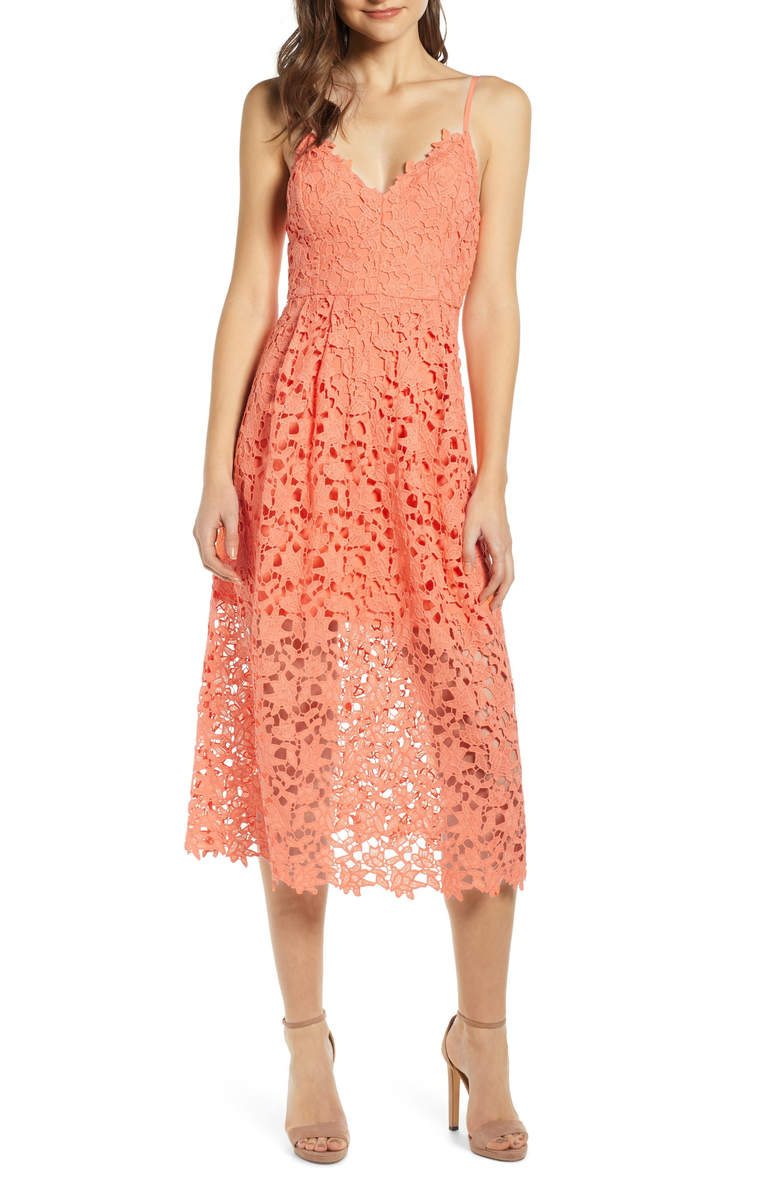 Astr The Label Lace Midi Dress, Coral