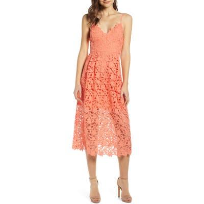 Astr The Label Lace Midi Dress, Coral
