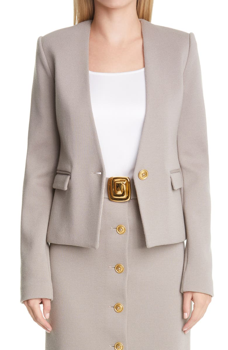 ST. JOHN COLLECTION Ottoman Knit Wool Jacket, Main, color, CLAY