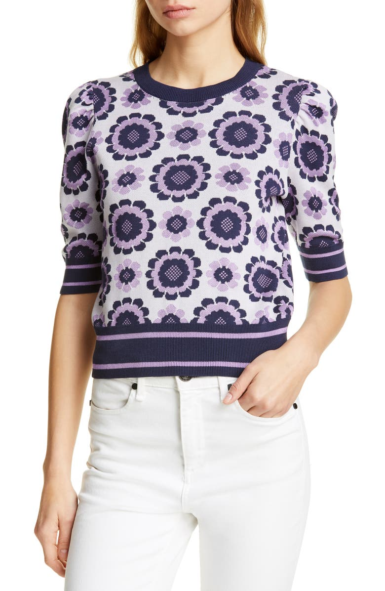 KATE SPADE NEW YORK geo floral crop sweater, Main, color, 506