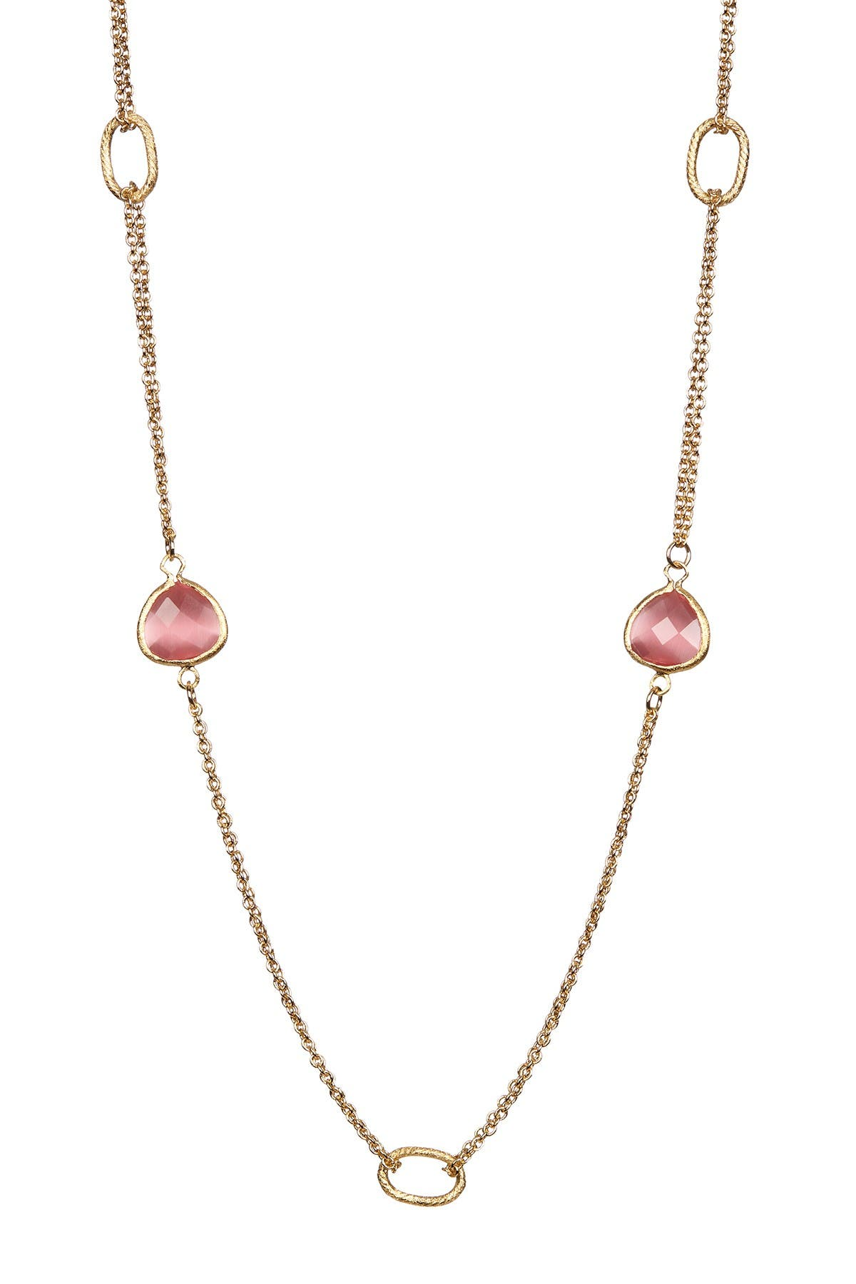 Image of Rivka Friedman 18K Gold Clad 2 Row Raspberry Cat's Eye Crystal Cable Link Necklace
