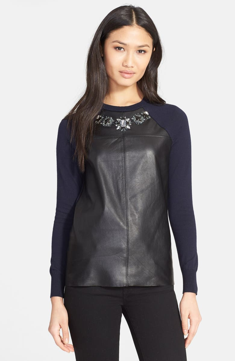 TED BAKER LONDON 'Landra' Embellished Leather Front Sweater, Main, color, 421