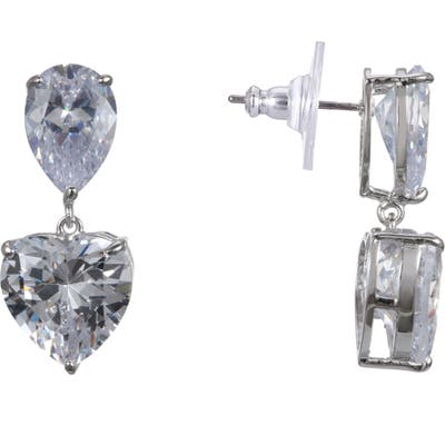 Nina Heart Cubic Zirconia Drop Earrings