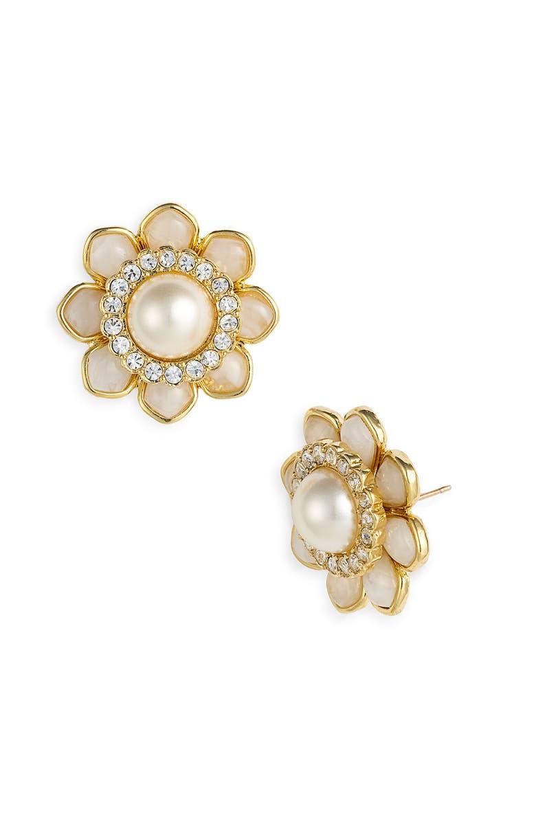 KATE SPADE NEW YORK 'sweet zinnia' floral stud earrings, Main, color, 900