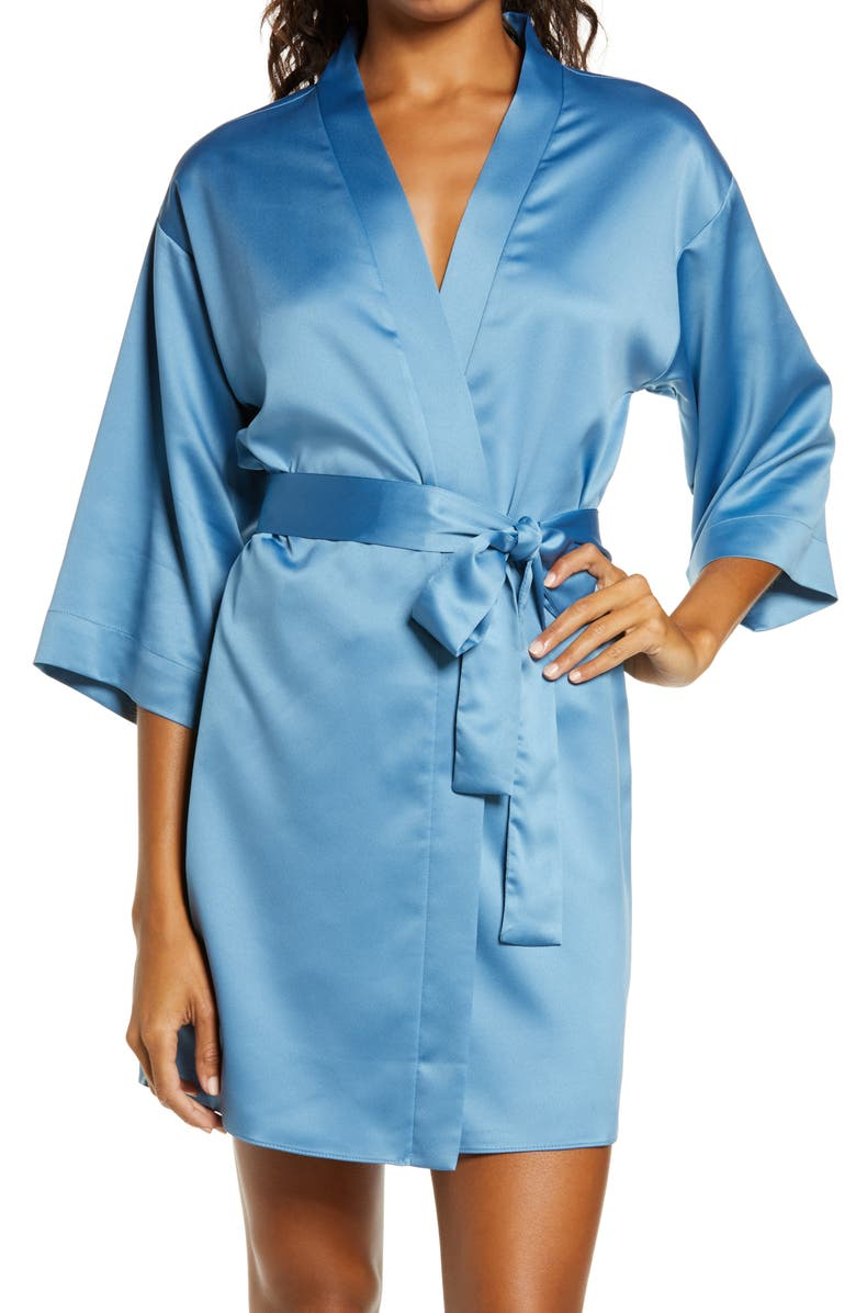 FLORA NIKROOZ Victoria Satin Short Robe, Main, color, 428