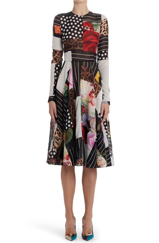 Dolce & Gabbana Downs PATCHWORK A-LINE LONG SLEEVE MIDI DRESS