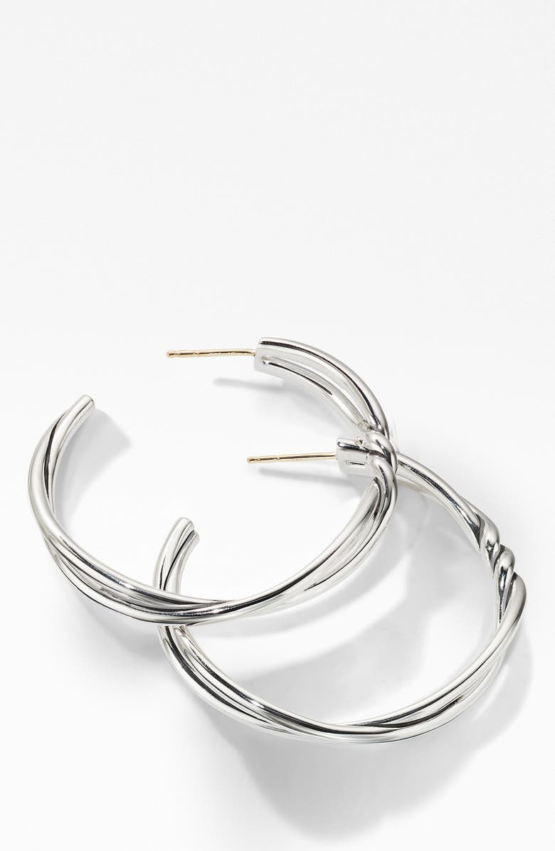 DAVID YURMAN Continuance Large Hoop Earrings, Main, color, SILVER
