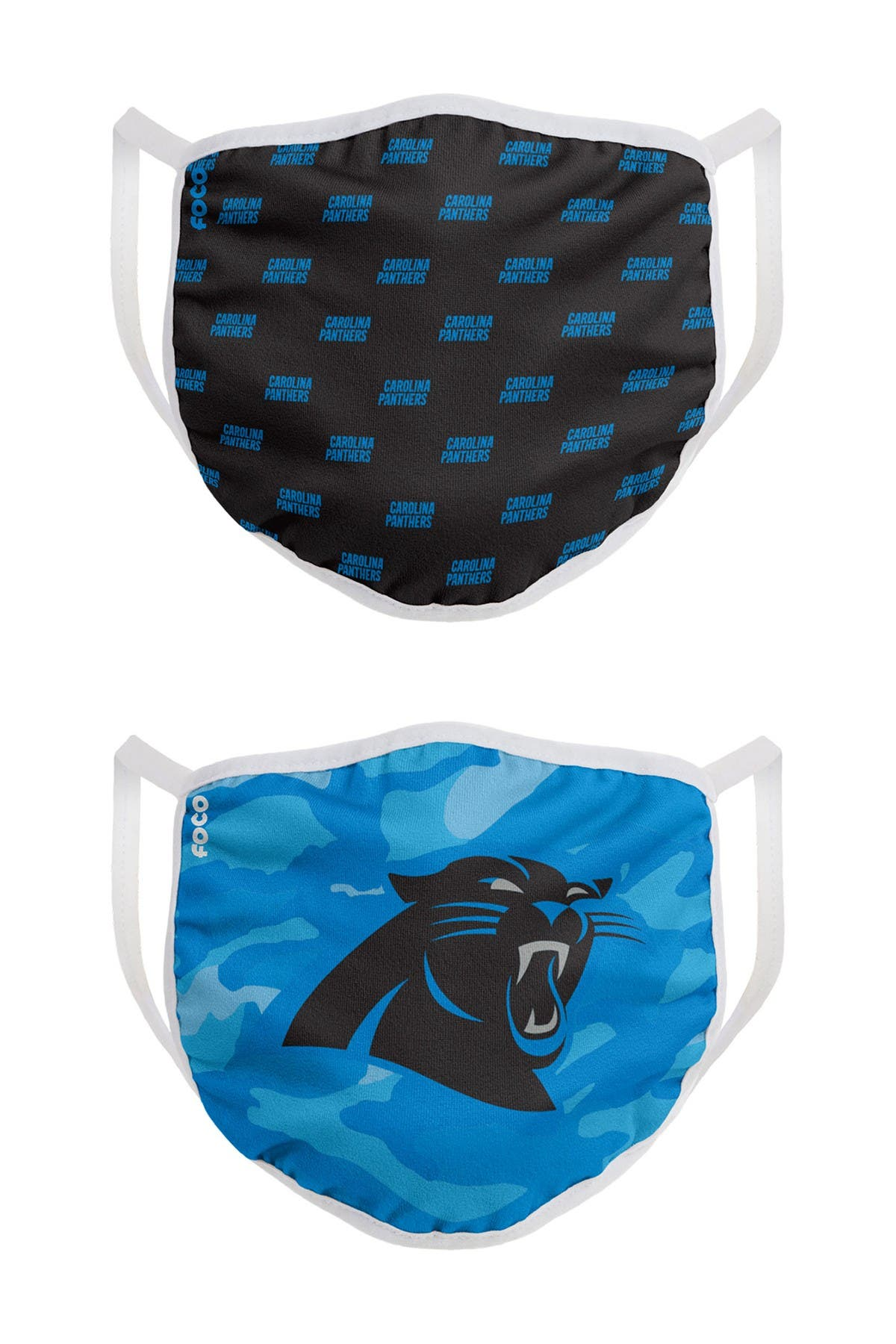 Image of FOCO NFL Carolina Panthers Clutch Printed Face Cover - Pack of 2