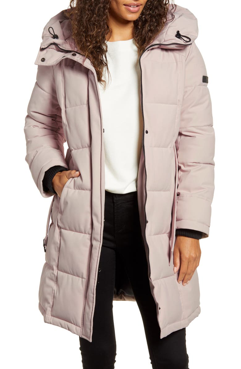 SAM EDELMAN Pillow Collar Belted Puffer Coat, Main, color, PINK