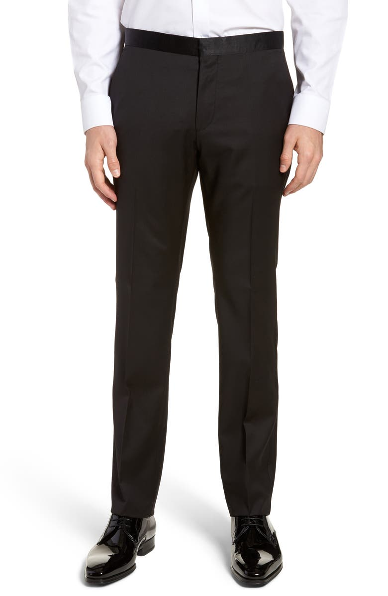 BOSS Gilan CYL Flat Front Slim Fit Wool Dress Pants, Main, color, BLACK