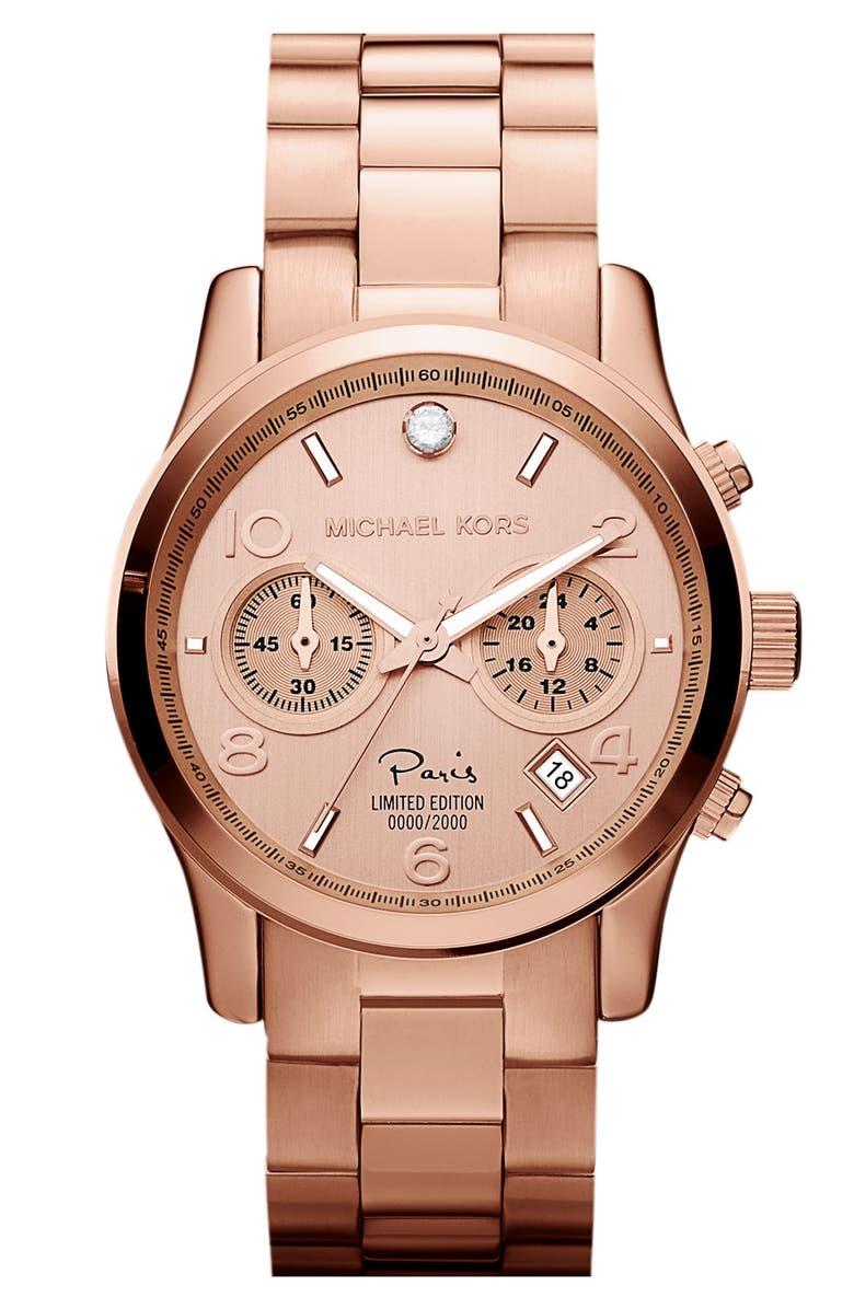 MICHAEL MICHAEL KORS Michael Kors 'Runway - Paris' Chronograph Watch, Main, color, 711
