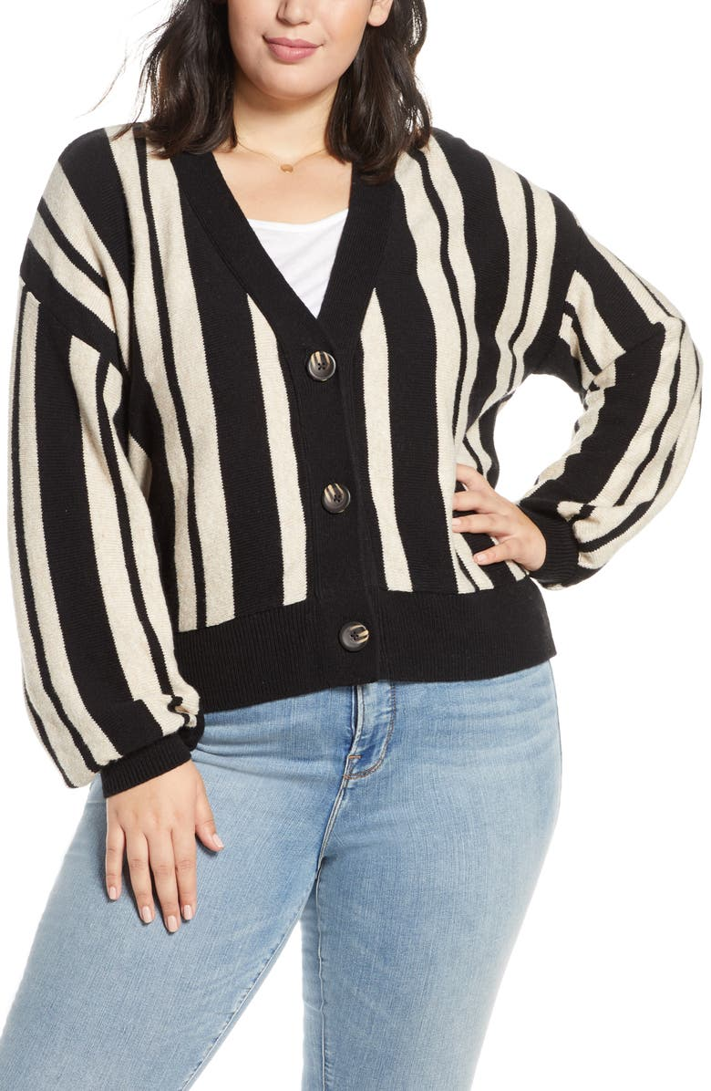 BP. Stripe Crop Cardigan, Main, color, BLACK JAMIE STRIPE