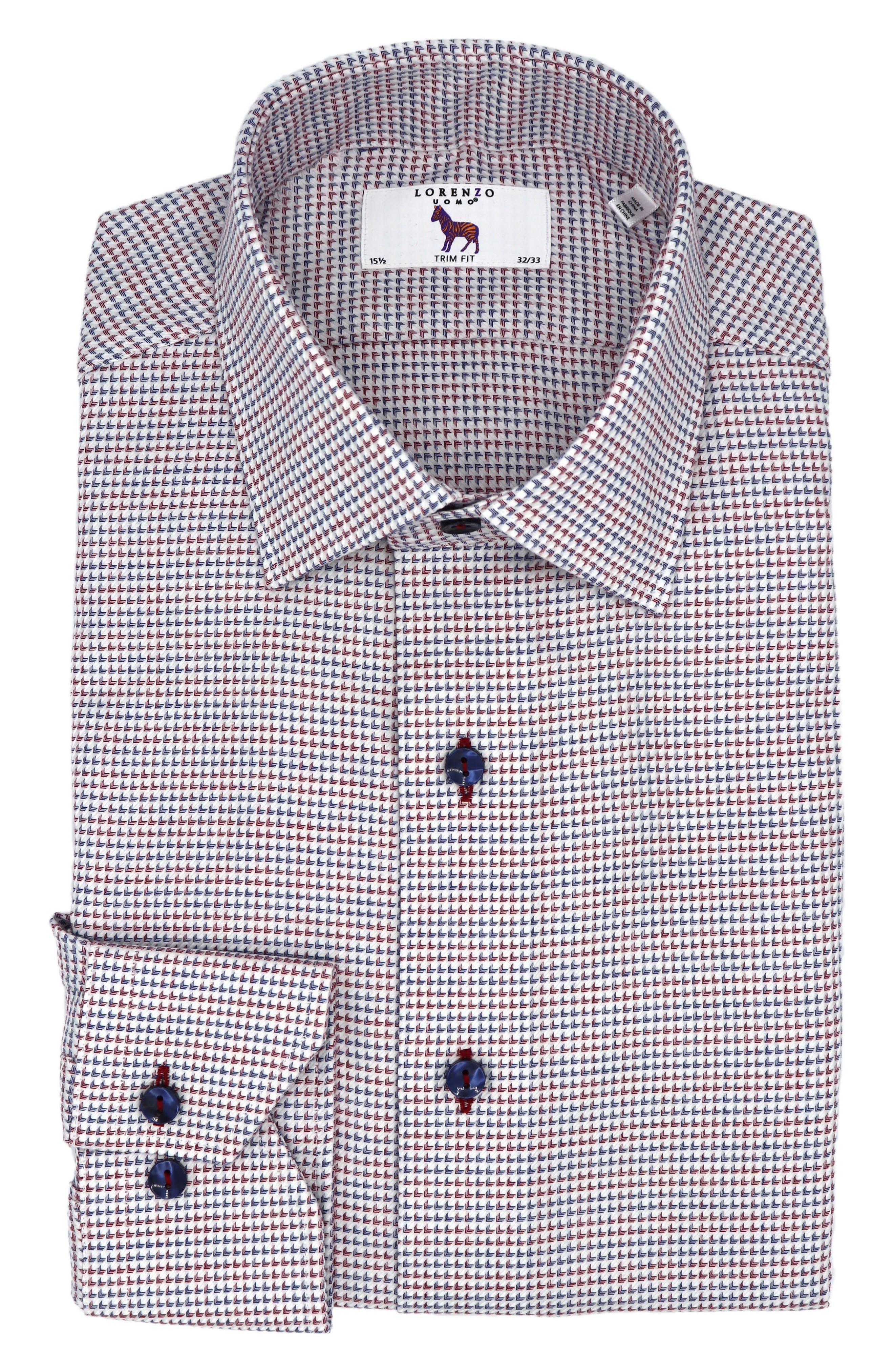 Trim Fit Geometric Dress Shirt