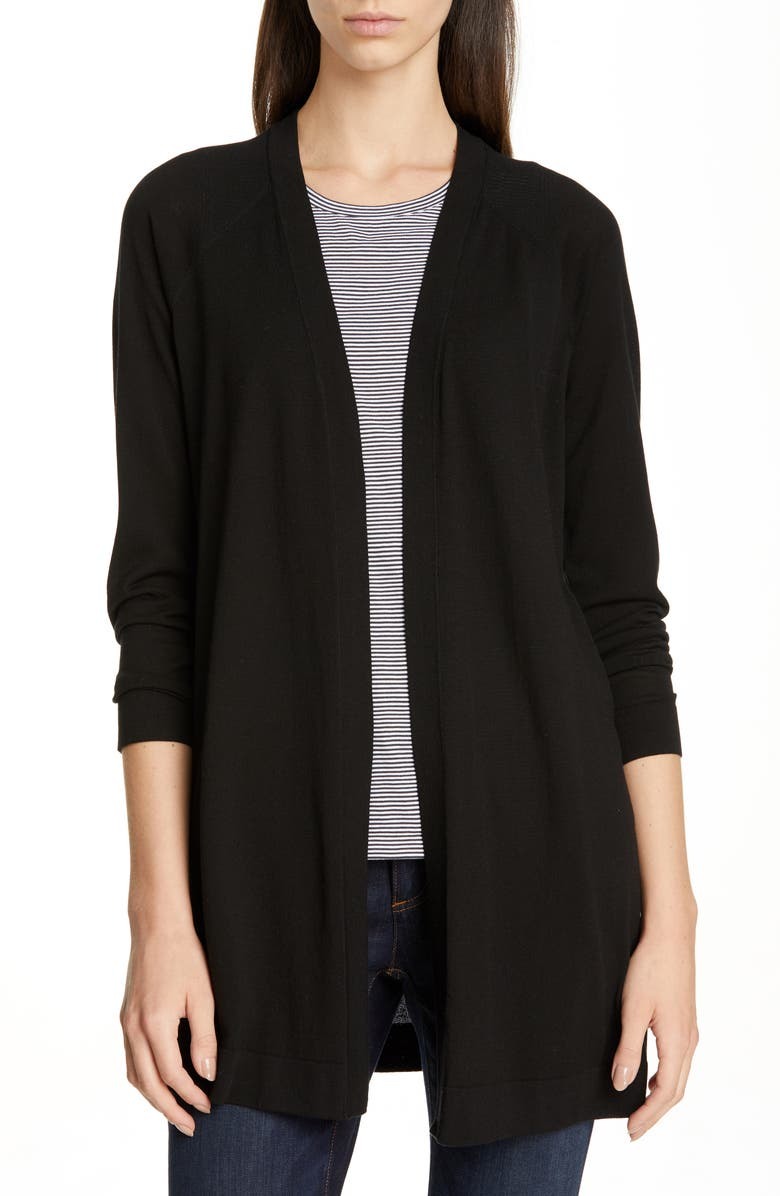 EILEEN FISHER Simple Long Cardigan, Main, color, 001