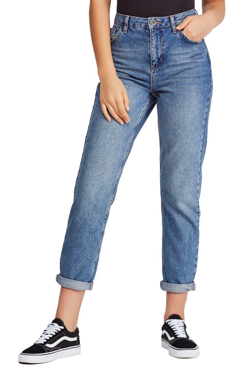 BDG URBAN OUTFITTERS Mom Jeans, Main, color, DARK DENIM