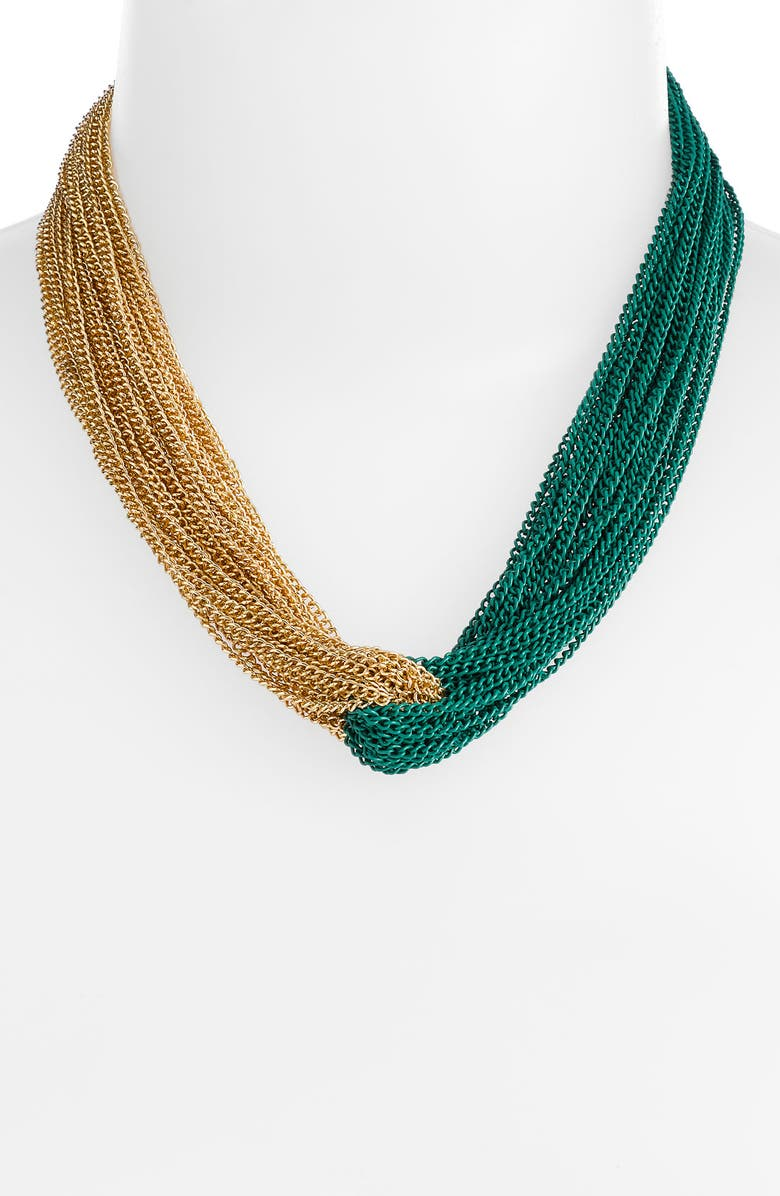 AIMEE LYNN Two Tone Woven Chain Necklace, Main, color, 300