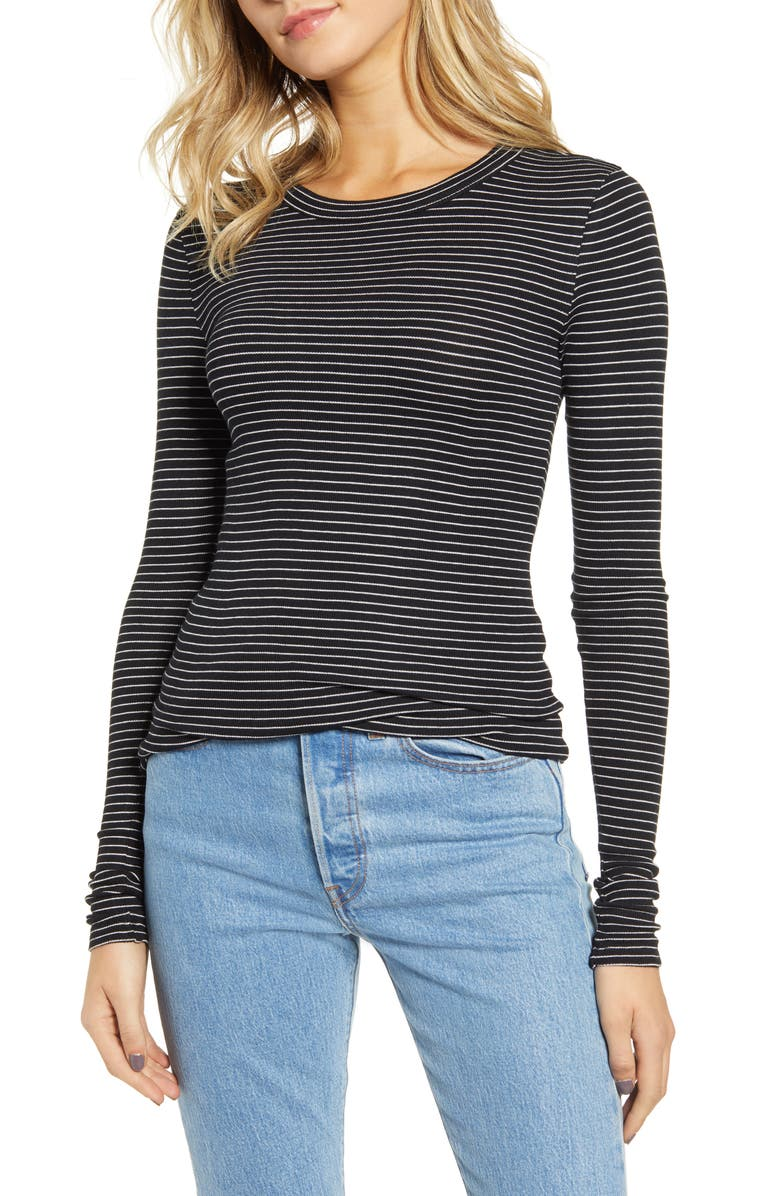 BP. Ribbed Long Sleeve Tee, Main, color, BLACK TARYN STRIPE