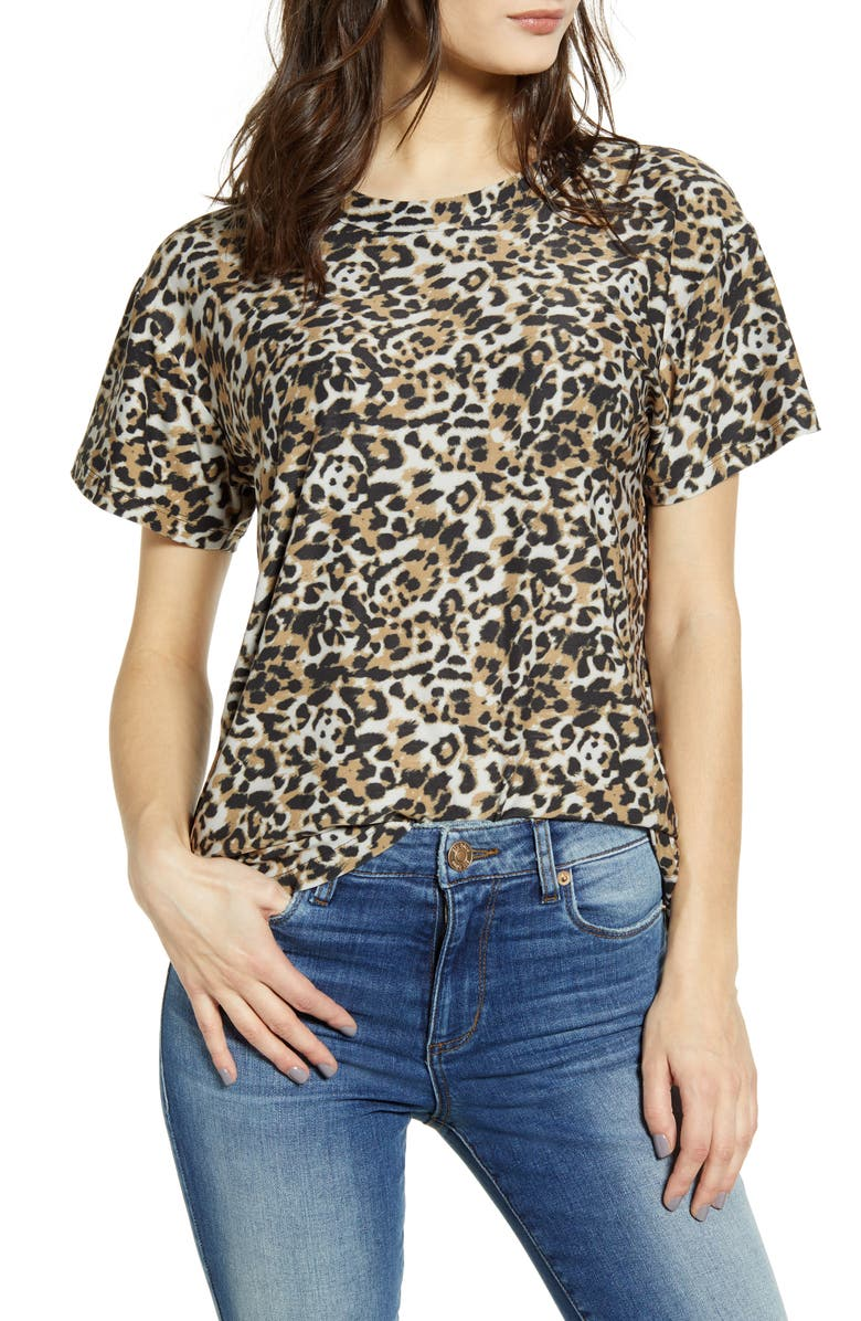 Leopard Print Tee, Main, color, BROWN LEOPARD