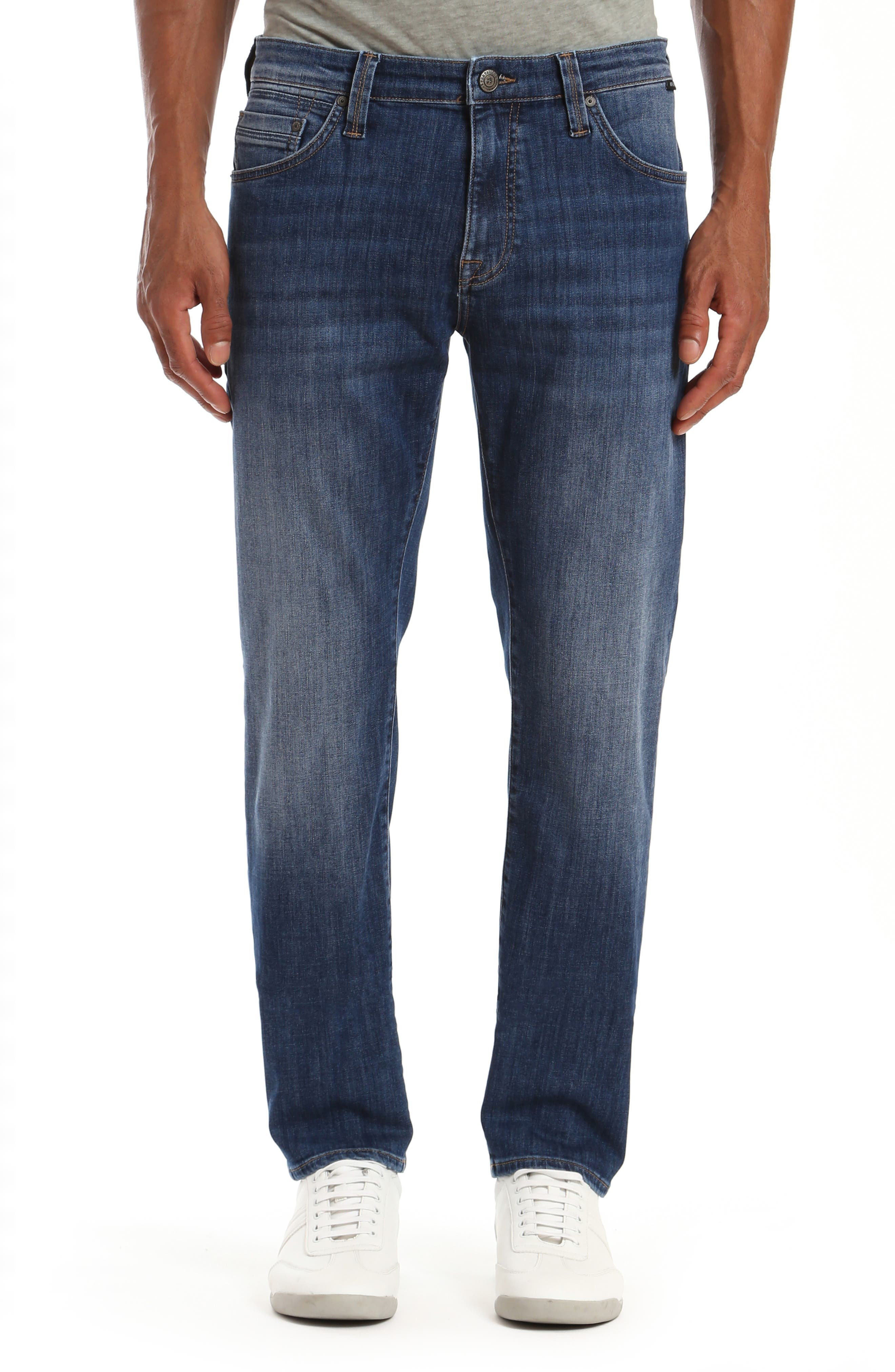 Fading and whiskering bring pre-worn character to slim-cut straight jeans with a vibe that keeps getting better and softer over time. Style Name: Mavi Jeans Marcus Slim Straight Leg Jeans (Deep Portland). Style Number: 6109165. Available in stores.