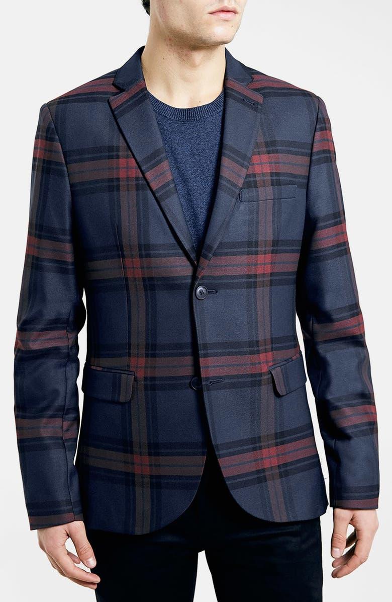 TOPMAN Skinny Fit Tartan Blazer, Main, color, 930