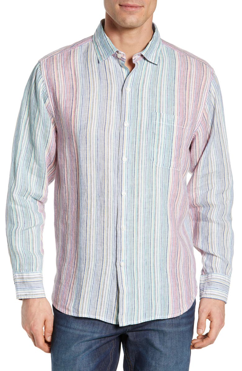 TOMMY BAHAMA Vair Stripe Linen Shirt, Main, color, 100