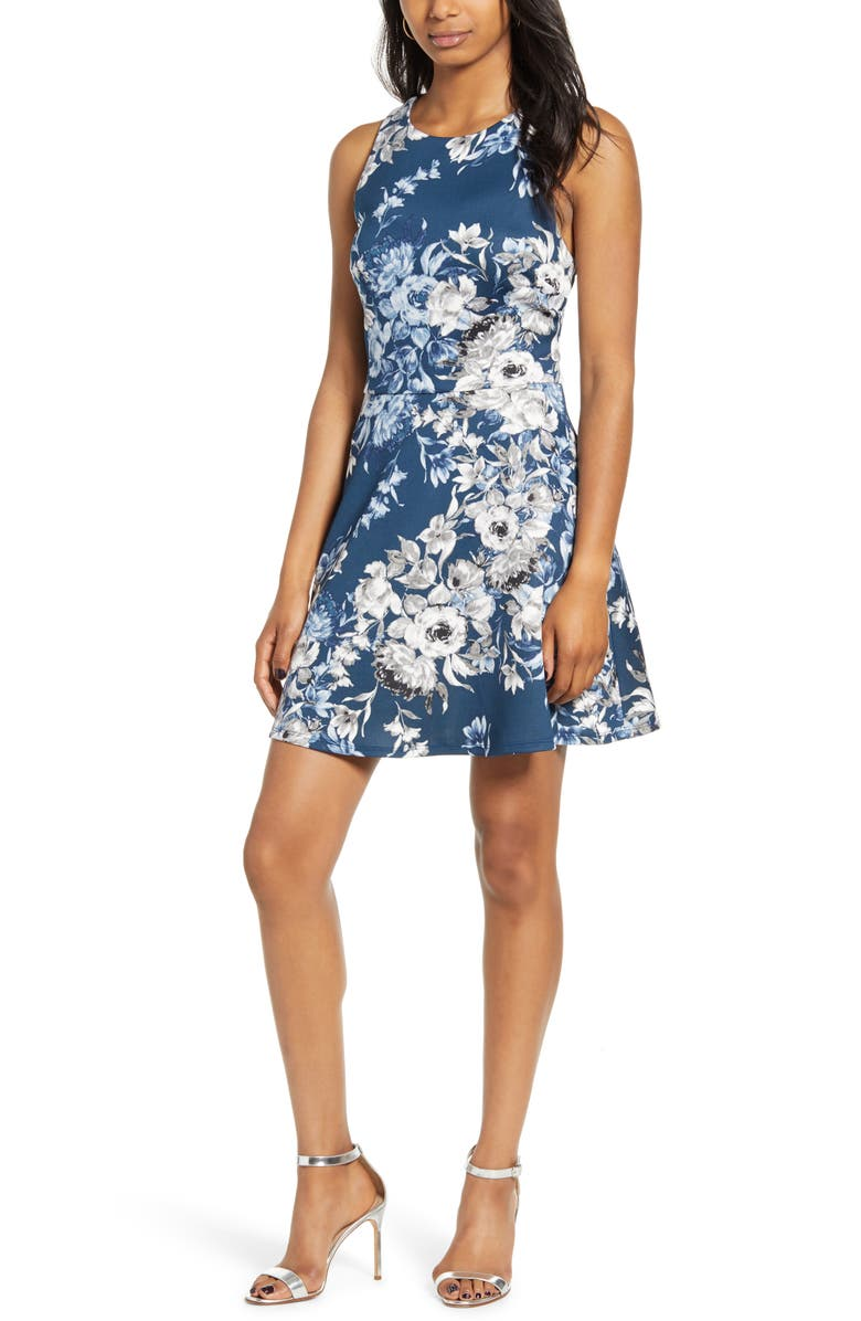 SPEECHLESS Floral Print Open Back Fit & Flare Dress, Main, color, 401