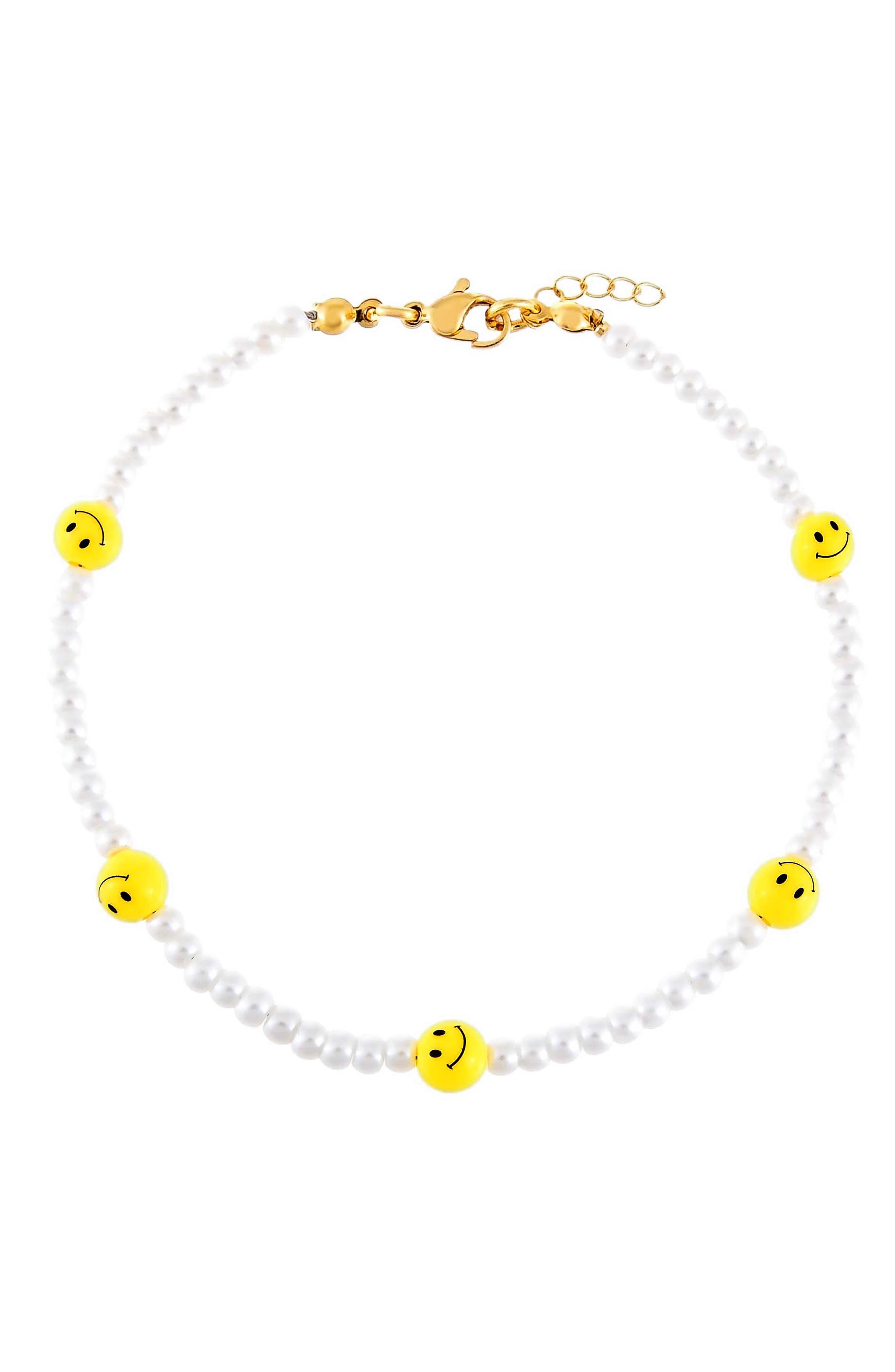 Women's Adina's Jewels Imitation Pearl Smiley Beaded Bracelet