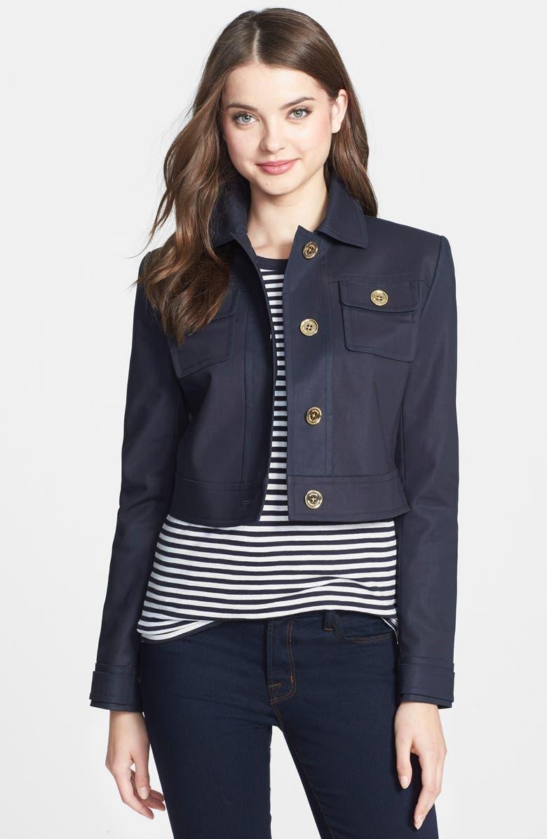 MICHAEL MICHAEL KORS Crop Jacket, Main, color, NEW NAVY