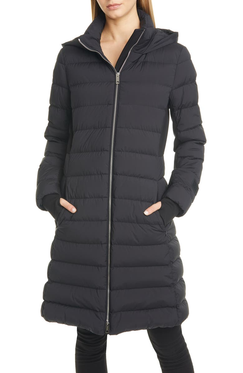BURBERRY Newbridge Hooded Down Puffer Coat, Main, color, BLACK