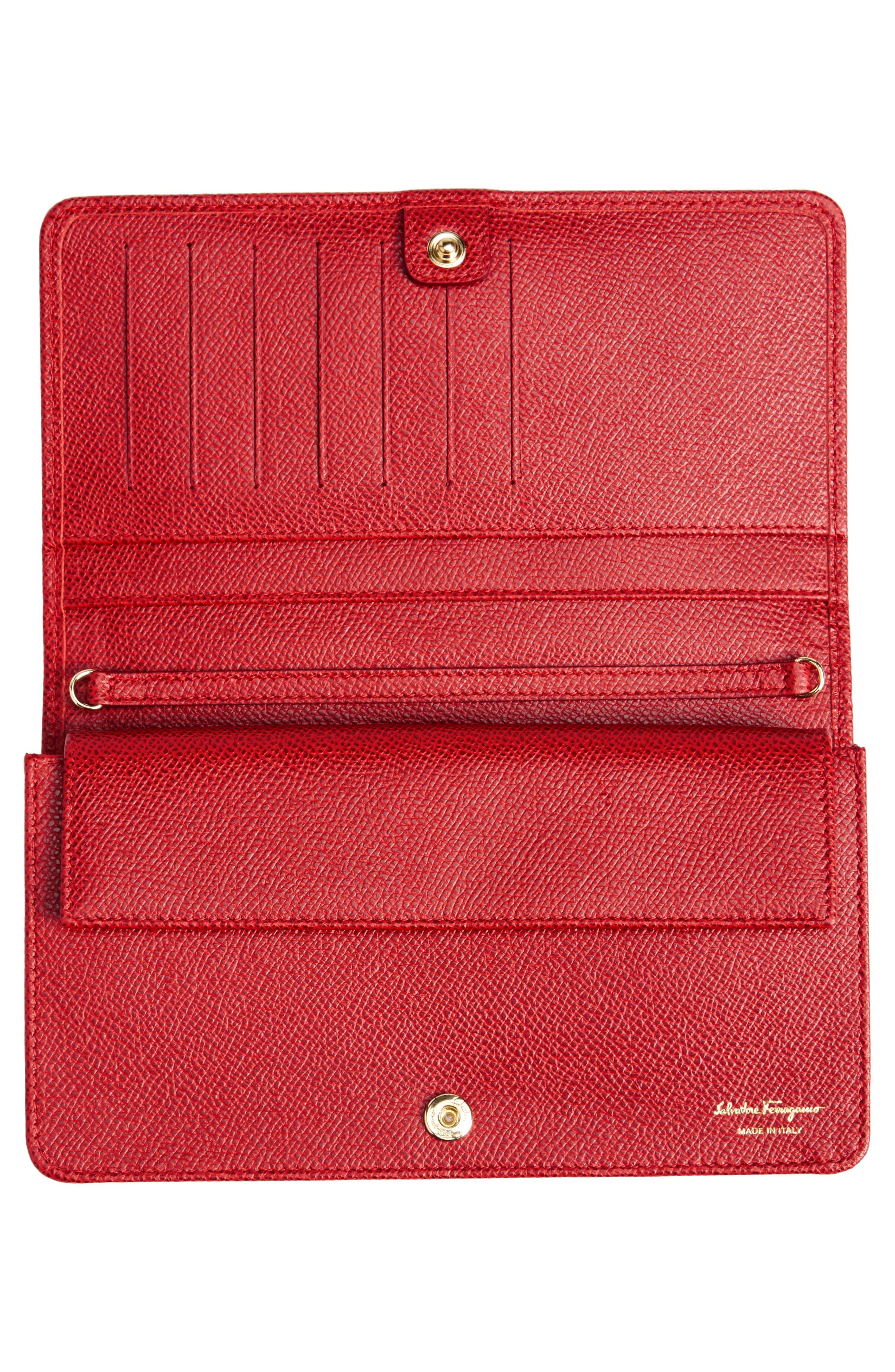 ,                             Salavatore Ferragamo Vara Leather Wallet on a Chain,                             Alternate thumbnail 4, color,                             LIPSTICK