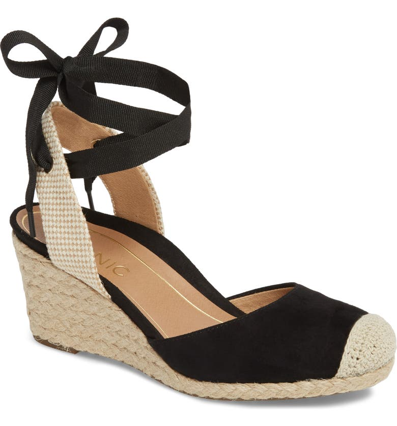 VIONIC Maris Orthaheel<sup>®</sup> Espadrille Wedge Sandal, Main, color, 001