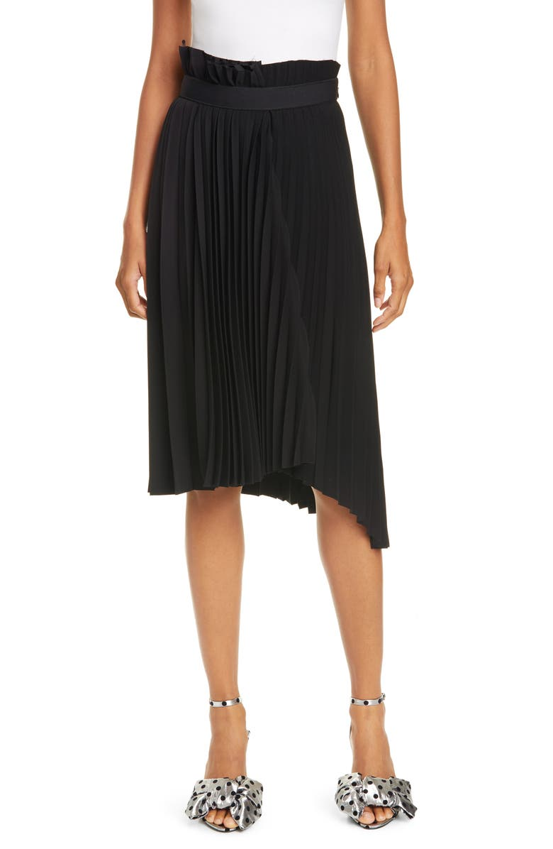 BALENCIAGA Logo Belt Asymmetrical Pleated Skirt, Main, color, BLACK