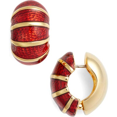 Erwin Pearl Goldtone & Red Reversible Earrings