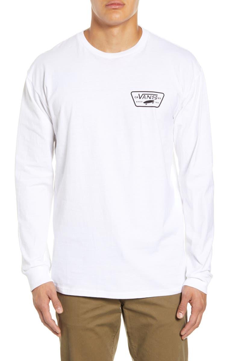 VANS Full Patch Long Sleeve T-Shirt, Main, color, WHITE