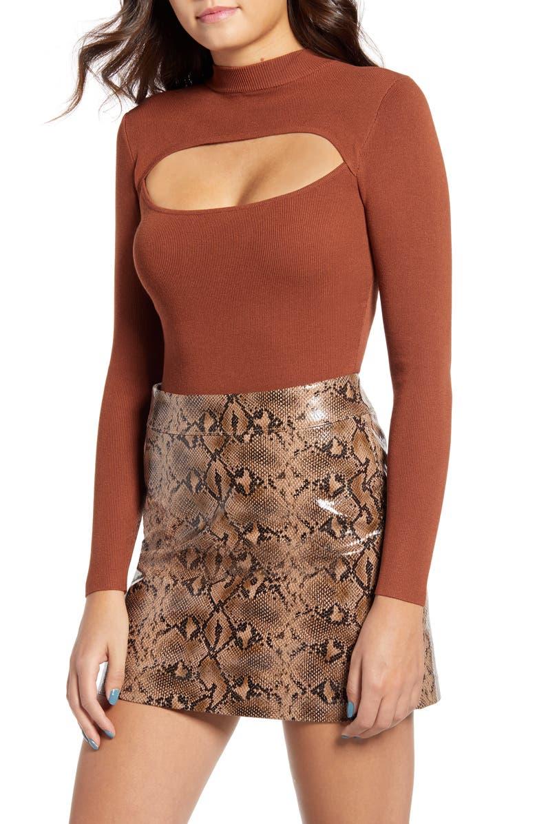 4SI3NNA Cutout Long Sleeve Bodysuit, Main, color, BROWN