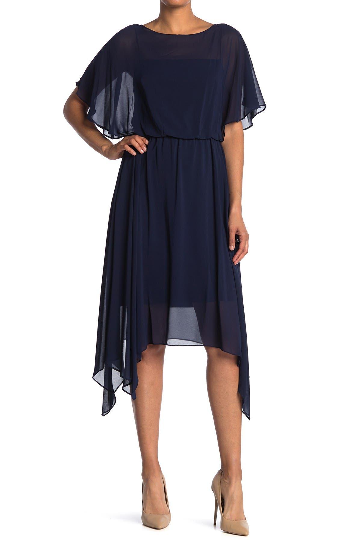 Image of Adrianna Papell Chiffon Popover Asymmetrical Hem Dress