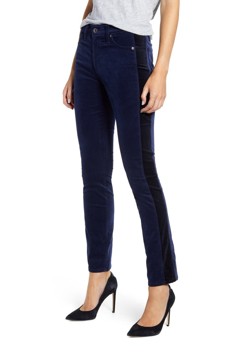 AG Mari Tuxedo Stripe Pants, Main, color, DEEP TRENCHES