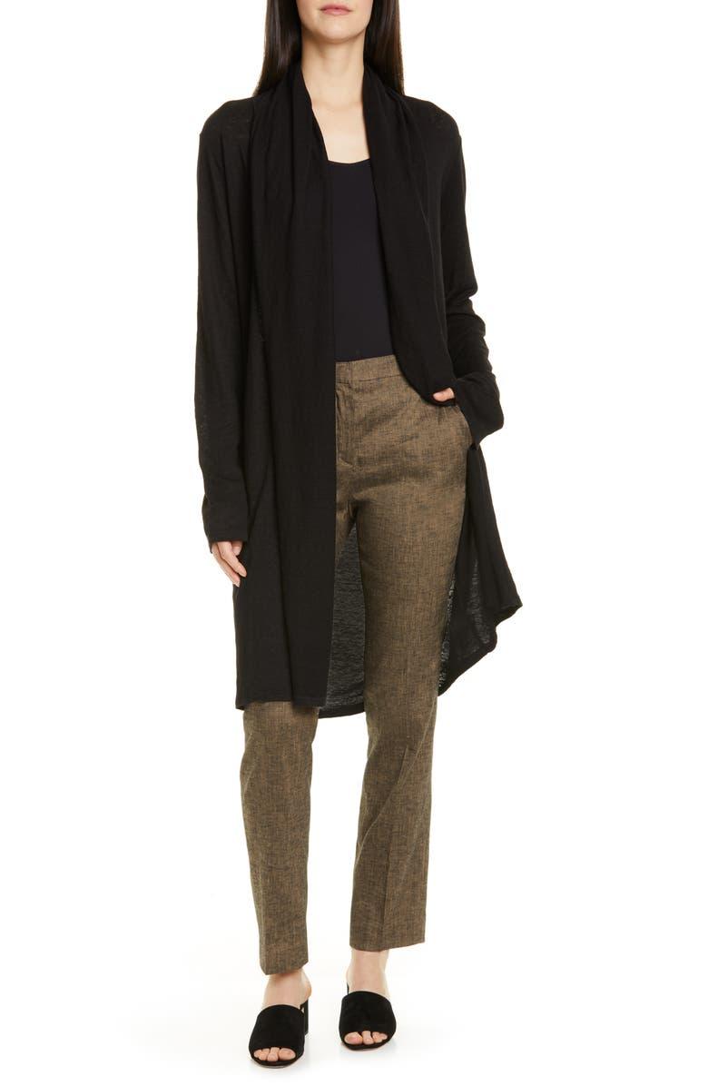 THEORY Linen Shawl Collar Cardigan, Main, color, 001
